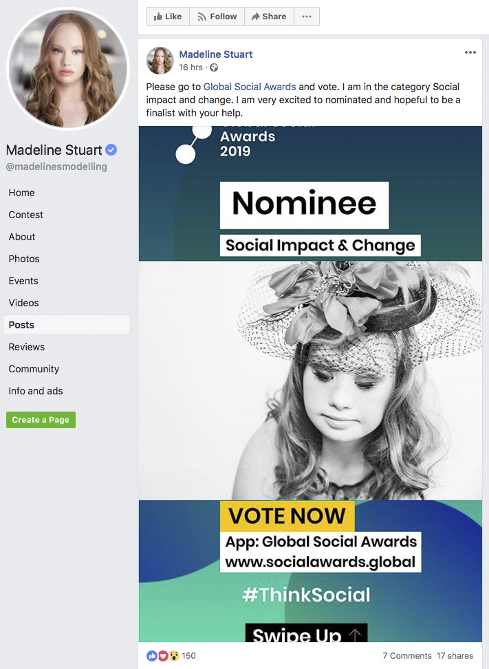 Madeline Stuart nommée aux Global Social Awards